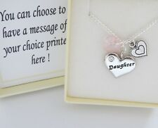 P.Pink heart Family Necklace,stitch ht,box,Step Mum, Daughter,Birthday,xmas,gift