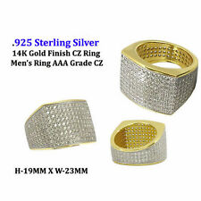 MENS ICED OUT 14K GOLD FINISH .925 STERLING SILVER AAA GRADE CZ RING