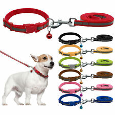 """Reflective Dog Puppy Pet Collar & Walking Leads Leash Set with Bell Safety 8-13"""""""