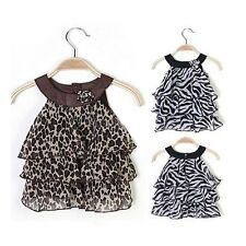 NEW 1-6 Year Girls Zebra Chiffon Multi Layer Mini Cake Dress Outfit, 2 Colors