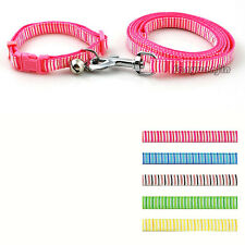 "11-17"" Strip Print Nylon Dog Pet Collar & Lead Set  with Bell Cute for Small Dog"