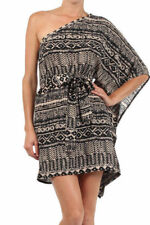 S-M-L Ibby Libby One Shoulder Belted Kimono Mini Dress-Black/Taupe