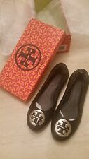 New Authentic Tory Burch Classic Reva Ballet Flats. Various Sizes. Black/Silver.