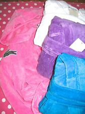NEW! WOMEN'S LACOSTE SMASH ROBE SOFT PLUSH HOODIE HOODED TERRY ROBE ONE SIZE NWT