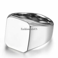 New Polished Silver-tone Biker Signet Stainless Steel Ring Mens Band Size 8-11