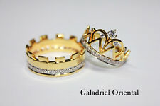 925 SILVER CZ PRINCESS QUEEN CROWN ANNIVERSARY WEDDING COUPLE RING GIFT ANY SIZE