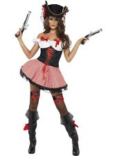 ADULT WOMENS FEVER PIRATE COSTUME SMIFFYS SEXY BUCCANEER FANCY DRESS - 2 SIZES