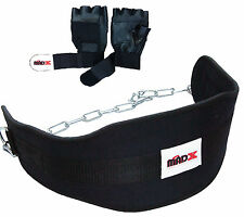 Weight lifting DIPPING dip BELT neoprene with Chain FREE LEATHER TRAINING GLOVES