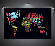 World Map Names Colour Art Poster - A0, A1, A2, A3, A4 sizes