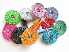Flat Braid Fabric USB Sync Charger Cable Cord For iPhone 5 5S 5C 3ft/6ft/10ft DK