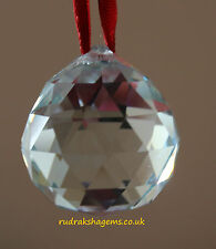 FENG SHUI CRYSTAL PRISM BALL FACETED SPHERE CLEAR SUN CATCHER RAINBOW THROWER