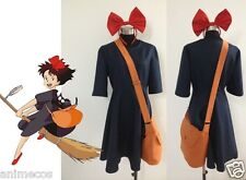Kiki Delivery Service Uniform Cosplay Costume+Bag+Hairband Customize Any Sizes