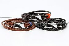 Braided Bolo Leather Wrap Bracelet - Stainless Steel Fish Hook for Men or Women