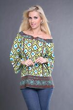 Krista Lee Zest Group Multicolor Print/Embroidered Beaded Tunic Shirt Top Blouse