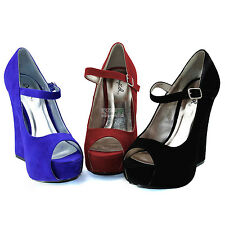 Qupid Thick High Heel Peep Toe Sexy Classic Mary Jane Platform Ankle Strap Shoes