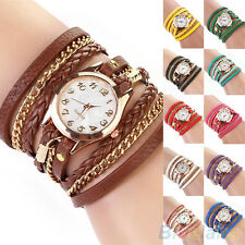 Women's Classic Chic Candy Vintage Weave Wrap Rivet Leather Bracelet Wrist Watch
