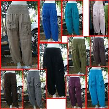 "Boho Summer yoga Harem Drawstring pants trousers cotton purple waist 24-36"" M-XL"