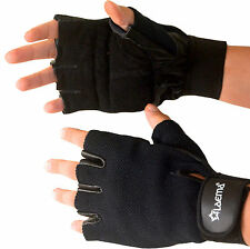 Pro Leather Mesh GEL Padded Gloves Gym Wear Exercise Workout Training Cycling