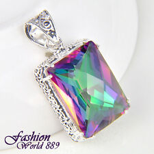 Antique Gorgeous Rainbow Colored Topaz Gemstone Silver Pendant Jewelry 1 1/2""