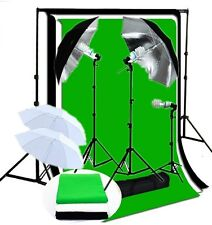 Studio umbrella 600 Watt lighting kit B/W/G muslin backdrops Support System Kit
