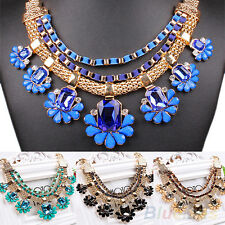HOT SALE WOMENS CRYSTAL BIB CHOKER COLLAR CHAIN STATEMENT NECKLACE PARTY JEWELRY
