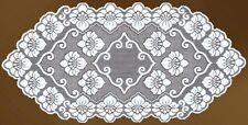 "Oval floral white or beige lace table runner (24"" x 47"")(60-120 cm)Mother's gift"