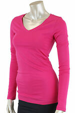 Women's Plus Size V-neck T-shirts with long sleeves cotton spandex stretch