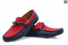 Mens Faux Suede Leather Blue Red Loafers Slip ons Boat Shoes Mocassins UK 6 - 11