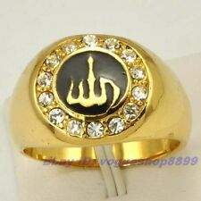 Size 8,9 Ring,ALLAH GEMSTONE REAL 18K YELLOW GOLD PLATED UK P,R SOLID FILL GP VS