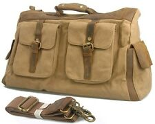 Vintage Men leather military canvas travel bag Large Luggage Duffle Bag Carry on