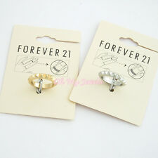 FOREVER 21 GOLD SILVER TONE PYRAMID STUDDED MIDI RING RG818