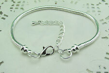 Lots 10pcs Silver Lobster Clasp Snake Chain Bracelets Fit European Charms Bead