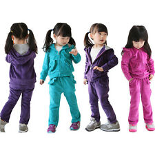 Kids Girl's Lace Brim Sweat Suit Hoody Tops Coat+Pants Outfits Baby Leisure Wear