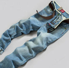 Men Stylish Designed Straight Slim Fit Trousers Casual Jean Pants 10 Size Blue