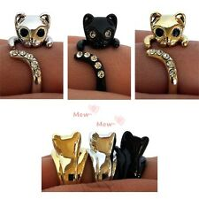 Cat kitten an adjustable ring  with swarovski crystal 3Colors(Black,Gold,Silver)
