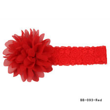 Baby Girls Cute Large Ruffle Flower Lace Chiffon Hairband Soft Elastic Headband