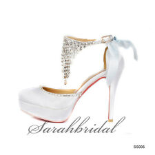 2014 Women Rhinestone High Heels Cheap White Party Prom Bridal Platforms Shoes