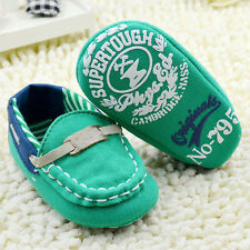 Infant baby boy green Soft Sole Crib Shoes Cloth shoes Size 0-18 Months