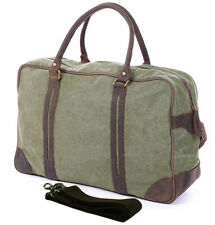 Men canvas real leather Travel Bag Large tote Luggage Bag sport Duffle Gym Bag