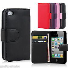 Leather Flip Wallet Case Cover For Apple iPhone 4 4S