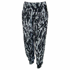 LADIES WOMENS HAREM ALI BABA TROUSERS PANTS MARL PRINT SIZE 8 10 12 14 16 18 NEW