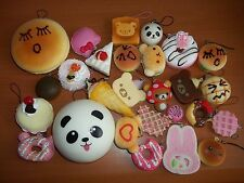 Kawaii Lot Rilakkuma Squishy Sandwich Strawberry Cake Panda Bun Cell Phone Charm