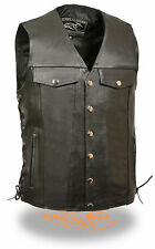 "Mens Black Leather ""Denim Style"" Biker Snap Vest with Side Lace"