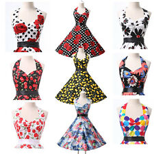 2014 US NEW SALE Vintage Halter Swing 50s Housewife pinup Rockabilly Retro Dress