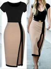 New Womens Summer Fashion Wear to Work Sheath Pencil slit Celeb Party Dress
