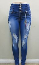 Women's Colombian Style Skinny Leg Ripped High Waist Jean Levanta Cola YM5021