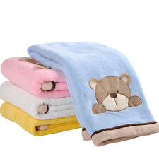 MMY Brand Coral Cartoon Embroidered Baby Receiving Blanket Fleece Crib Blankets