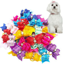 Wholesale Handmade Diamond Ribbon Pet Cat Dog Hair Bows Grooming Accessories