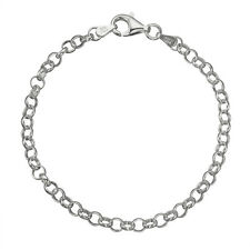 Solid 925 Sterling Silver 4mm Thick Italian Round Rolo Cable Link Chain Anklet