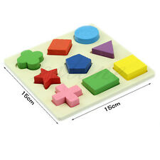 Baby Kids Wooden Educational Learning Toy Geometry Block Puzzle Montessori Early